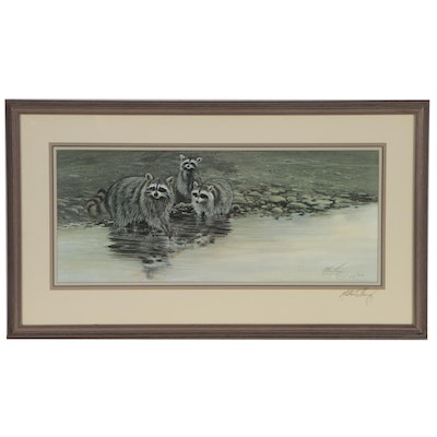 Morten E. Solberg Offset Lithograph of Raccoons at Waters Edge