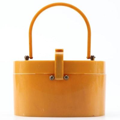 Butterscotch Acrylic Box Purse, Mid-20th Century
