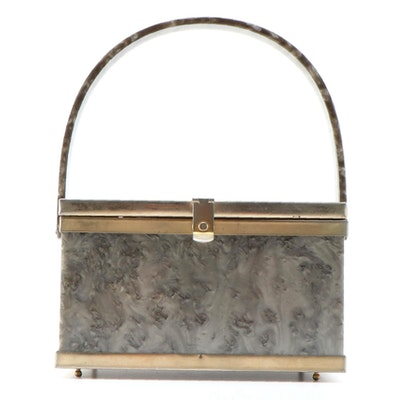 Openwork Scrolling Floral and Grey Marbled Lucite Box Purse, Mid-20th Century