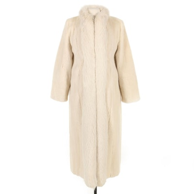 Tourmaline Mink Fur Coat with Fox Fur Tuxedo Collar