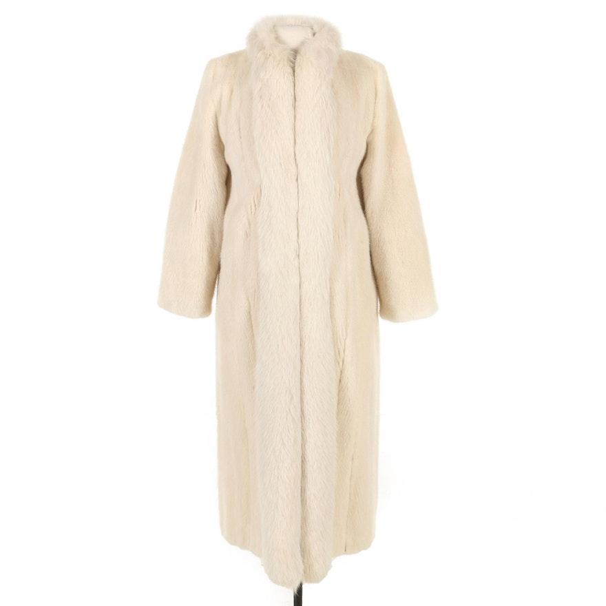 Tourmaline Mink Fur Coat with Fox Fur Tuxedo Collar