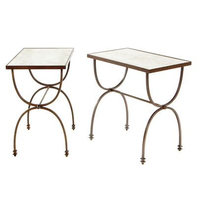 Pottery Barn Mirrored Metal Framed End Tables, Pair