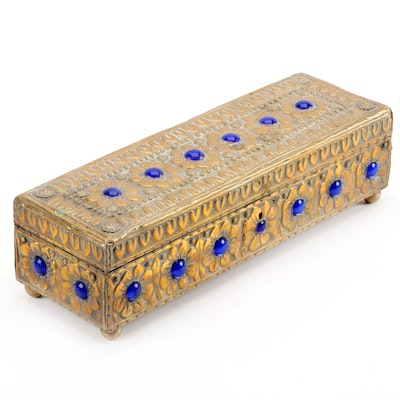 Floral Embossed Brass Lock Box