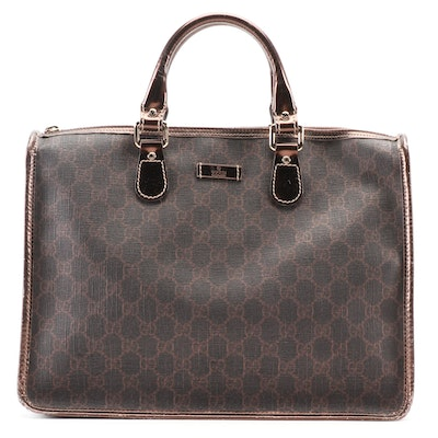 Gucci Top Handle Tote in Brown GG Coated Canvas and Bronze Metallic Leather