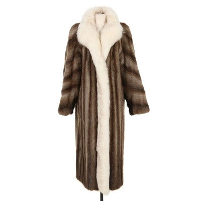 Fully Let-Out Muskrat Fur Coat with Fox Fur Tuxedo Collar