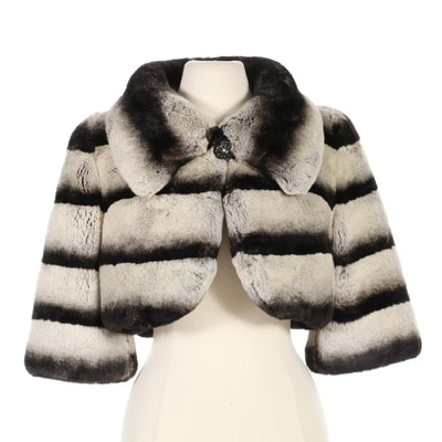 Chinchilla-Dyed Sheared Rex Rabbit Fur Bolero Jacket with Three-Quarter Sleeves