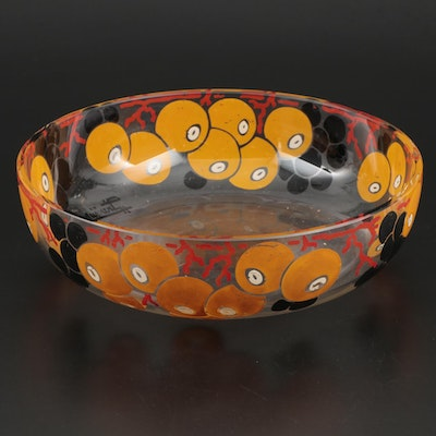 Mid Century Modern Printed Glass Serving Bowl
