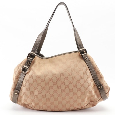Gucci Abbey D-Ring Medium Tote in Beige GG Canvas with Bronze Leather Trim
