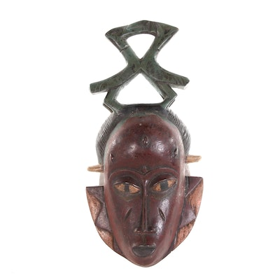 Guro Carved Wood Mask with Antelope Horn Motif Crest