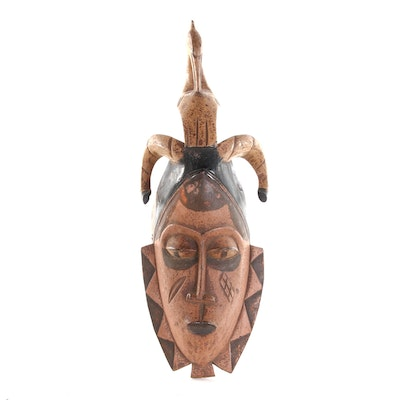 Guro Carved Wood Mask with Bird and Buffalo Horn Motif Crest