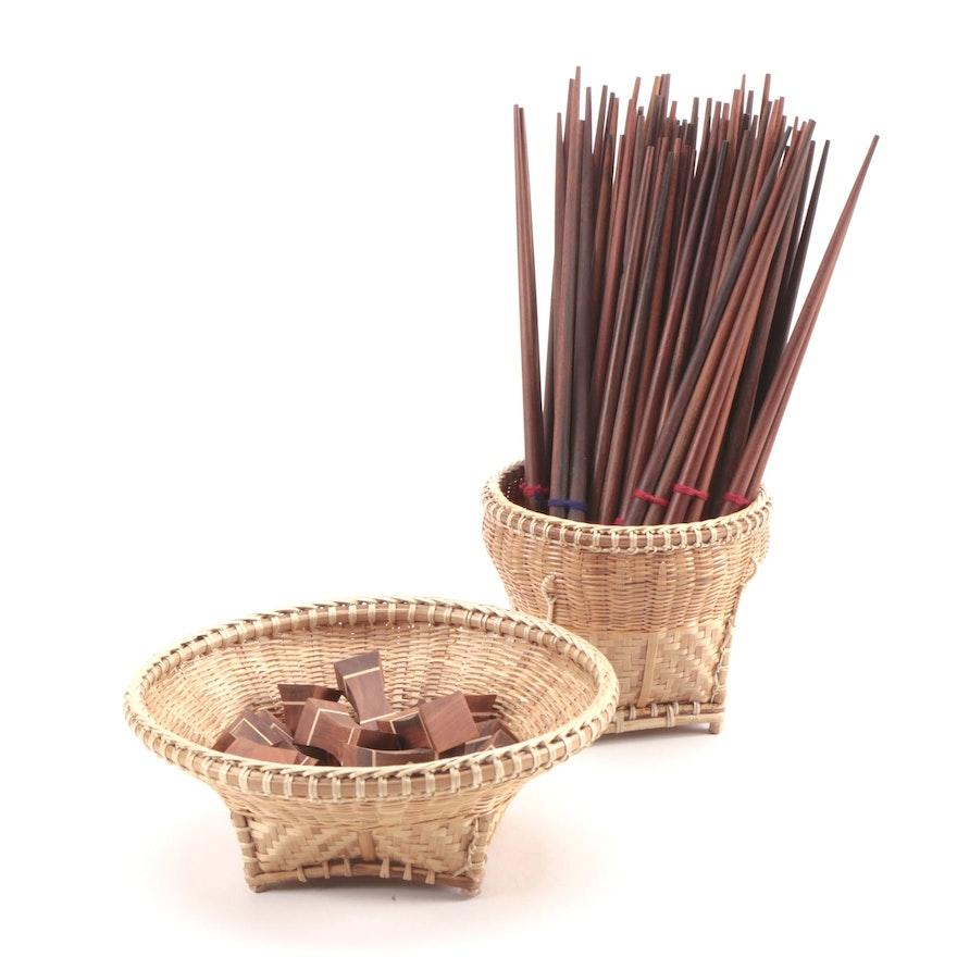 Southeast Asian Hardwood Chopsticks, Chopstick Rests, and Bamboo Baskets