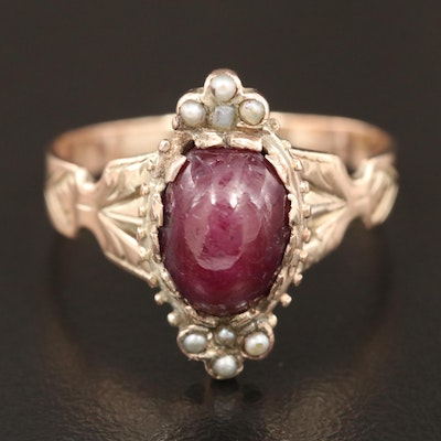Victorian 8K Ruby and Seed Pearl Ring