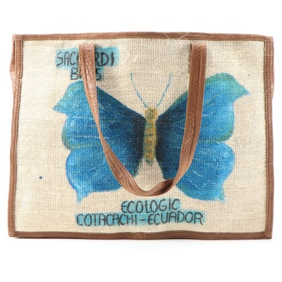 Saccardi Ecologic Cotacachi Ecuador Jute and Leather Tote