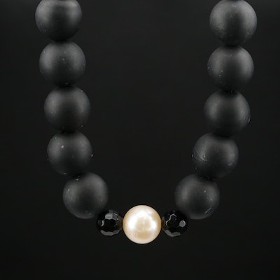 Cultured Pearl and Beaded Onyx Necklace with 14K Clasp