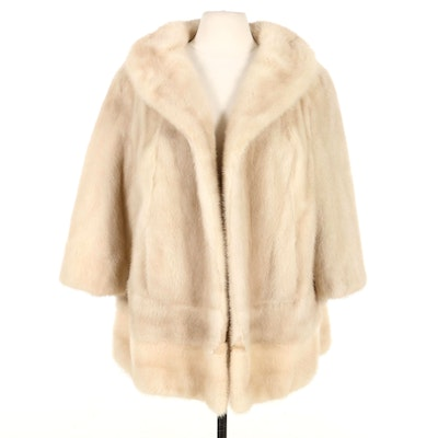 Tourmaline Mink Fur Open Front Stroller Coat, Mid-20th Century