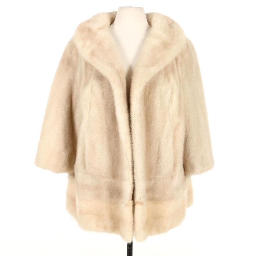 Tourmaline Mink Fur Open Front Stroller Coat, Mid-20th Century
