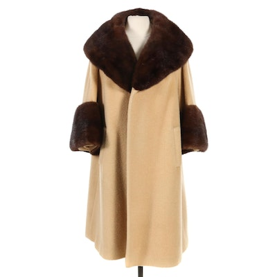 Lilli Ann Camel Hair Open Front Swing Coat with Mink Fur Trim, 1960s Vintage