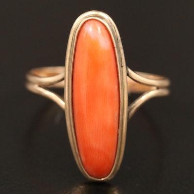 Vintage 10K Coral Pointer Ring