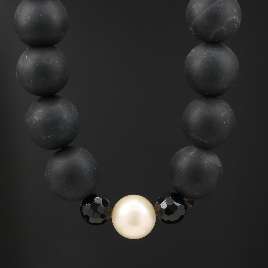 Cultured Pearl and Beaded Black Onyx Necklace with 14K Clasp