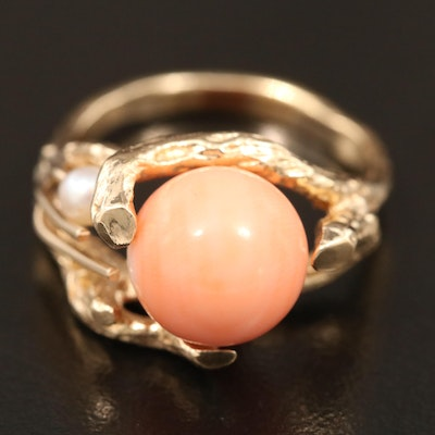 Vintage 14K Coral and Pearl Biomorphic Ring