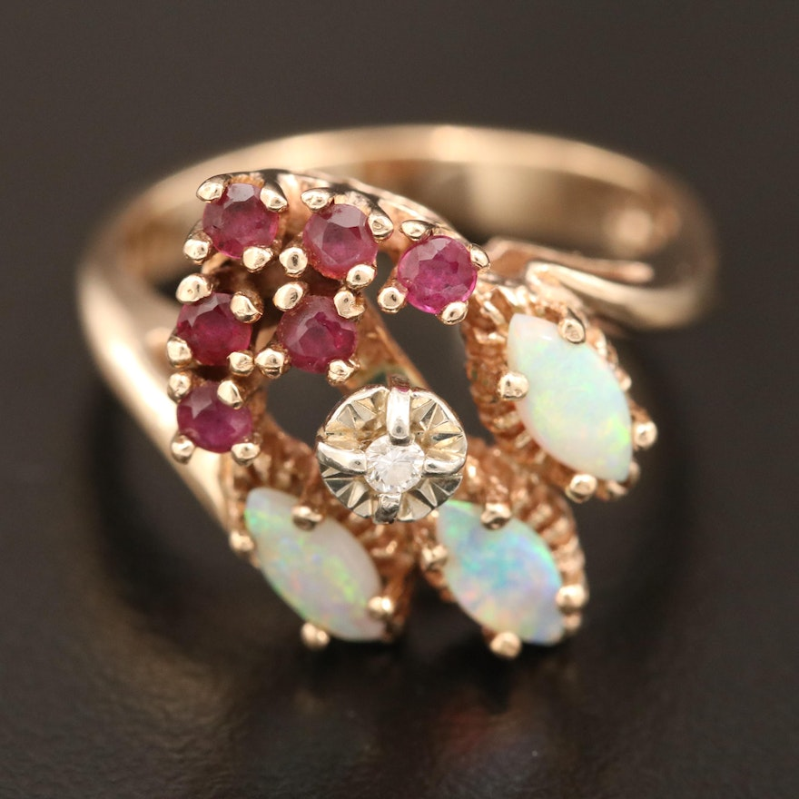 10K Diamond, Opal and Ruby Bypass Ring
