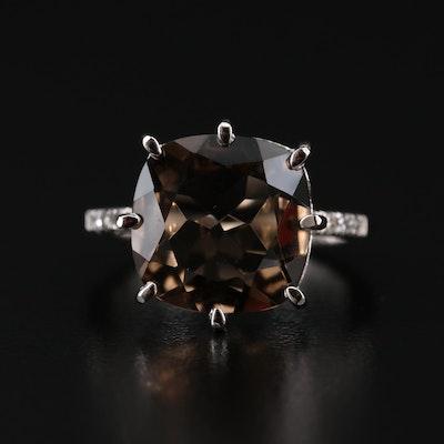 Sterling Smoky Quartz and Diamond Ring