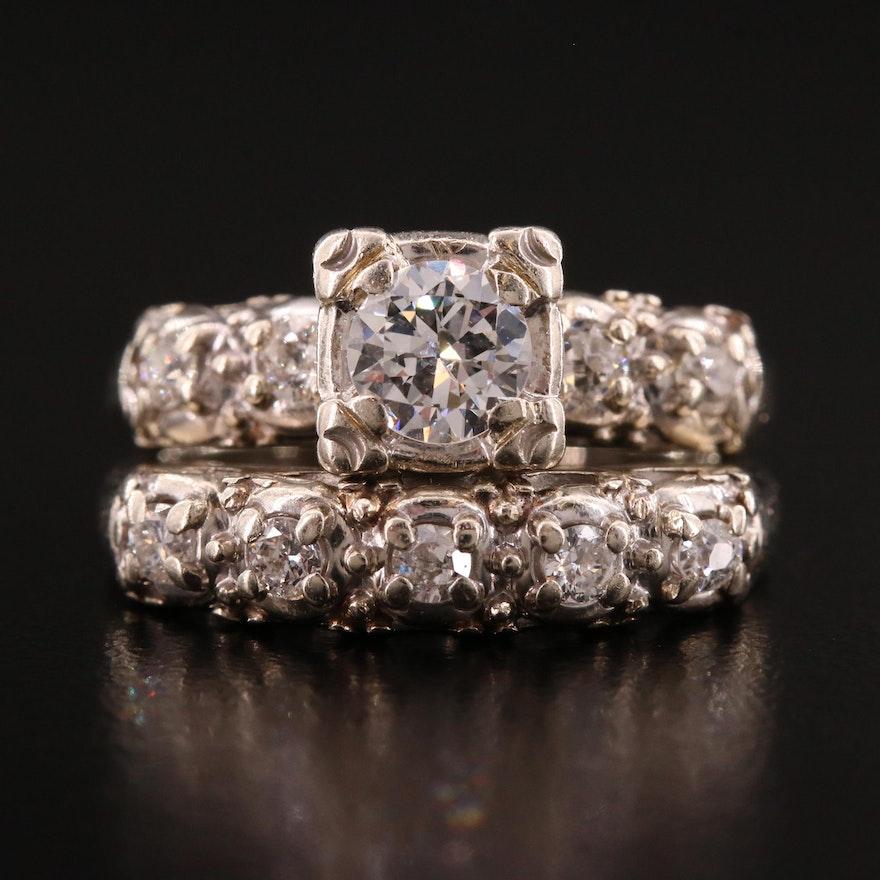 Vintage 14K Diamond Ring and Diamond Band