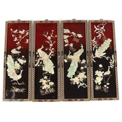 Chinese Painted and Stone-Mounted Peacock Motif Wall Panels