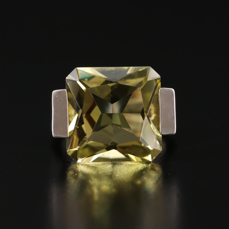 Sterling Citrine and Diamond Ring