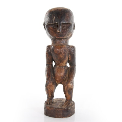 Nias Wood Carved Figural Sculpture, 20th Century