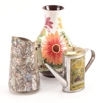 Mexican Abalone Mosaic Pitcher with Other Home Décor