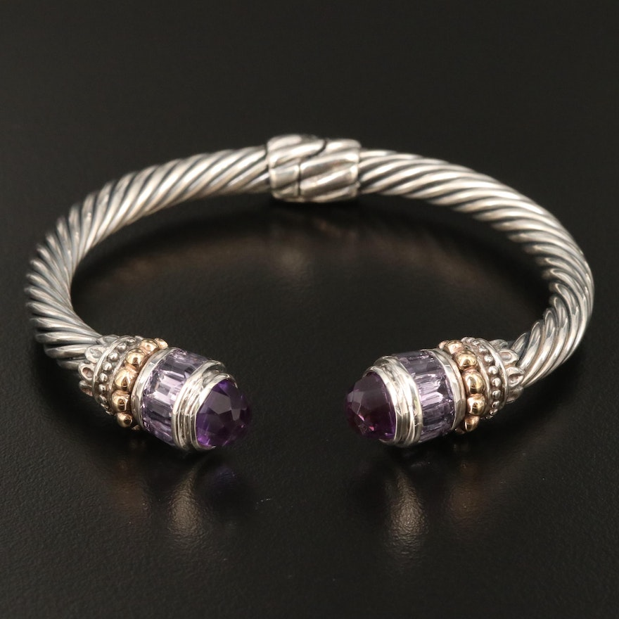Sterling Silver Amethyst Hinged Cable Cuff Bracelet