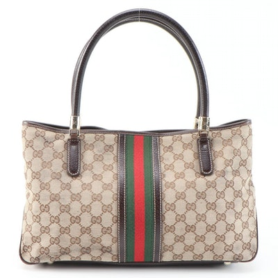 Gucci GG Canvas and Web Stripe Shoulder Bag