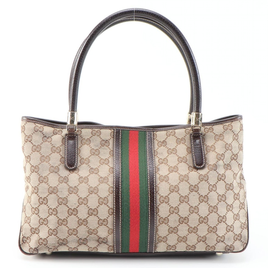 Gucci GG Canvas and Web Stripe Shoulder Bag