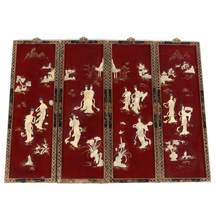Chinese Lacquered Wood and Carved Shell Wall Panels, Mid to Late 20th Century