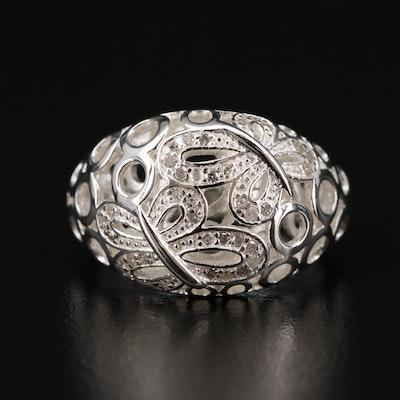 Fine Silver Diamond Ring