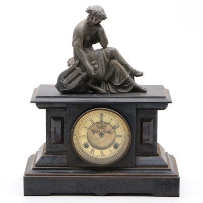 Waterbury Clock Co. Milan Slate Mantel Clock, Early 20th Century