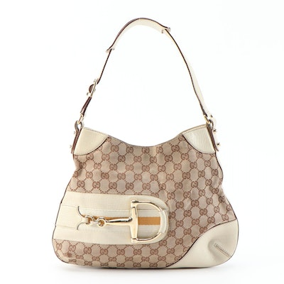 Gucci Hasler Horsebit GG Canvas and Beige Textured Leather Shoulder Bag