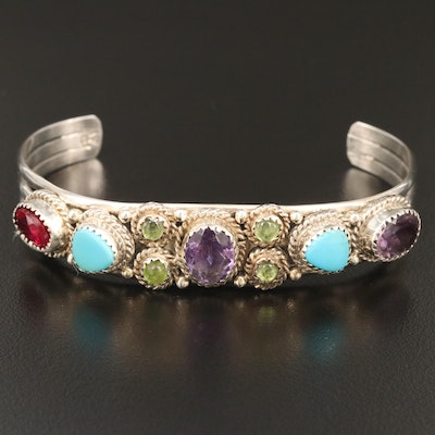 Running Bear Shop Sterling Amethyst, Turquoise and Gemstone Cuff Bracelet