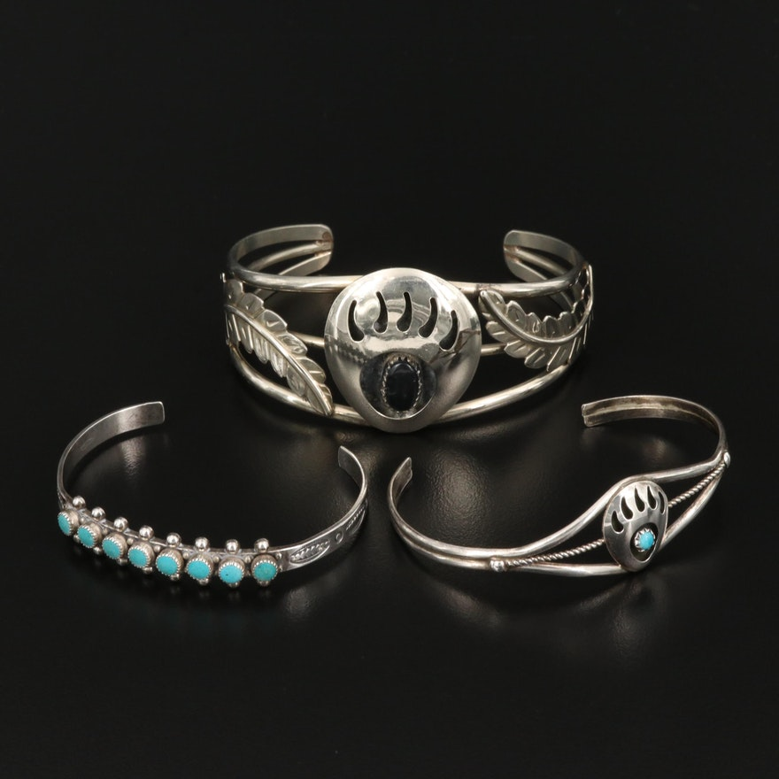 Western Cuff Bracelets Including Sterling, Obsidian and Turquoise