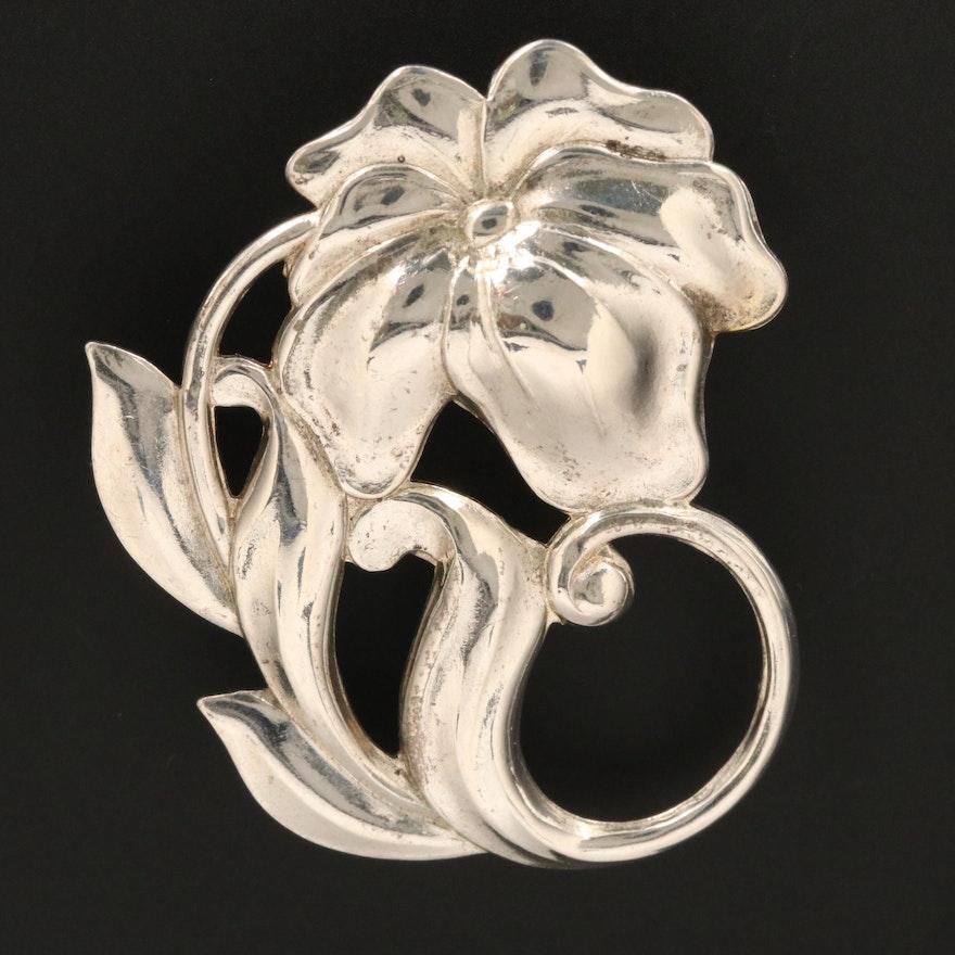 Vintage Sterling Silver Floral Brooch