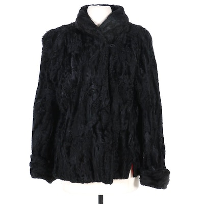 Black Broadtail Lamb Fur Jacket, Mid-20th Century