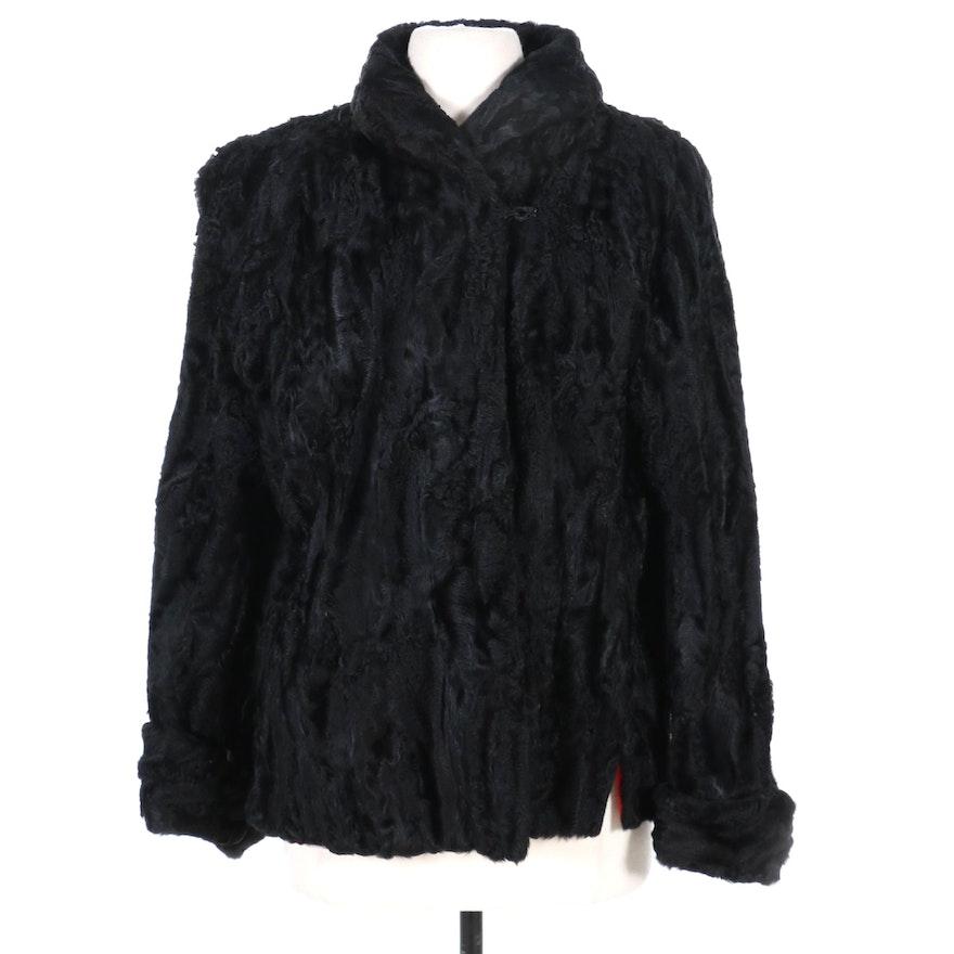 Black Broadtail Lamb Fur Jacket, Mid-20th Century