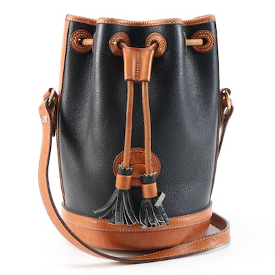 Dooney & Bourke Black All-Weather Leather Bucket Bag with British Tan Trim