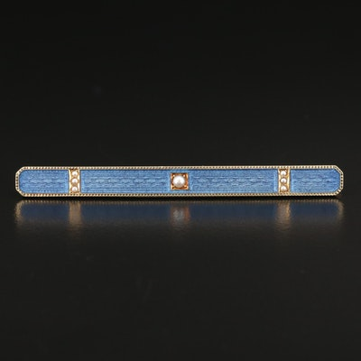 Antique 14K Seed Pearl and Guilloche Enamel Bar Brooch