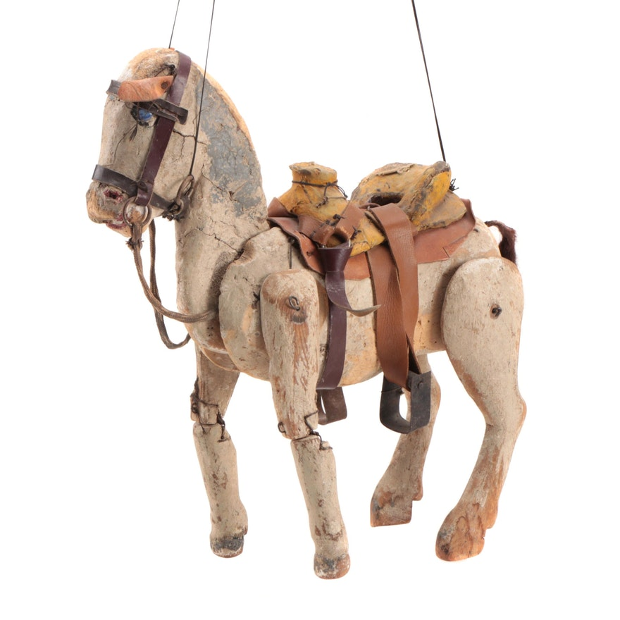 Polychrome Wooden Horse Marionette Puppet, Late 19th/ Early 20th Century