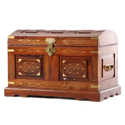Pakistani Hardwood and Brass Marquetry Diminutive Dome-Top Chest