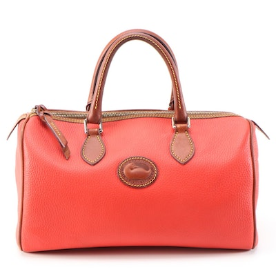 Dooney & Bourke Red All-Weather Leather Handbag with Contrast Leather Trim