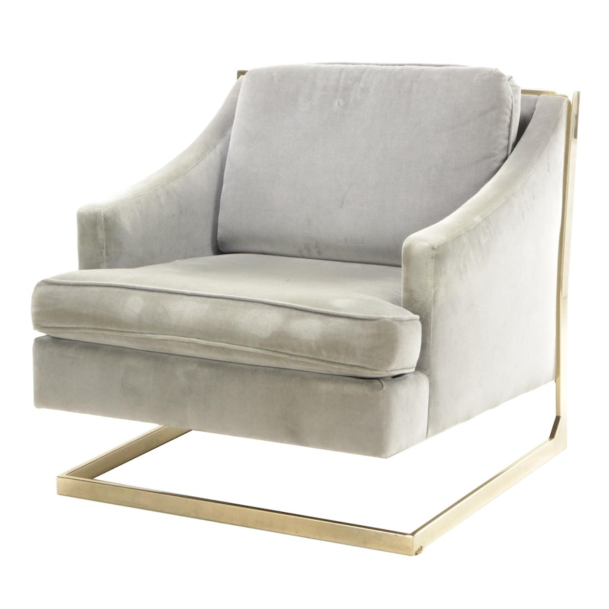 Contemporary Modern Upholstered Cantilever Arm Chair