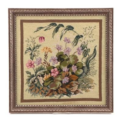 Framed Floral Needlepoint Panel